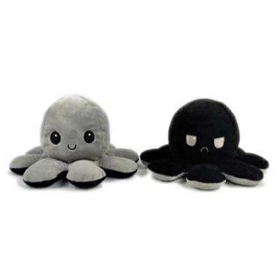 Kawaii Octopus plushie 2 kleuren - Grey / Black - happy & grumpy