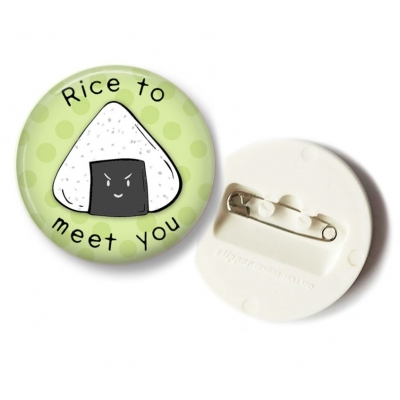 'Rice to meet you' Rice Ball Button - 36mm