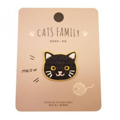 Kawaii Zwarte Kat Stoffen Sticker 1 stuk