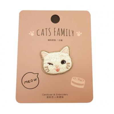 Kawaii Witte Kat Stoffen Sticker 1 stuk