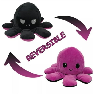 Kawaii Octopus plushie 2 kleuren - Purple / Black - happy & grumpy