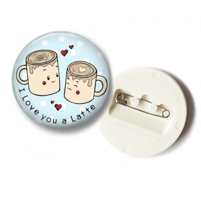 'I Love You Latte' Koffie Button - 36mm