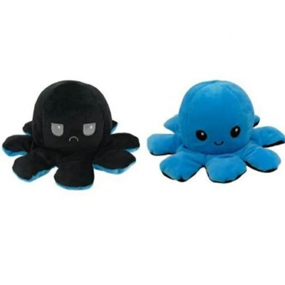 Kawaii Octopus plushie 2 kleuren - Blue / Black - happy & grumpy
