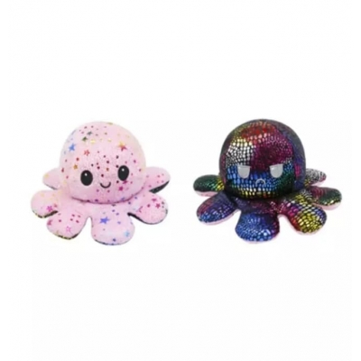 Kawaii Octopus plushie 2 kleuren - stars / galaxy - happy & grumpy