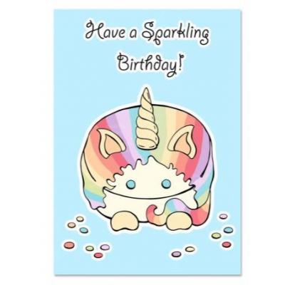 'Have a Sparkling Birthday' Unicorn Kaart