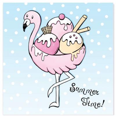 'Roze Flamingo' Summer Time Kaart