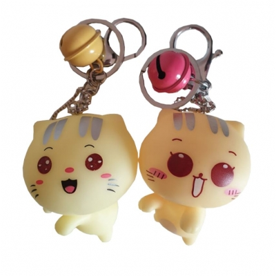 Kawaii Kitty Sleutelhanger (gele bel)
