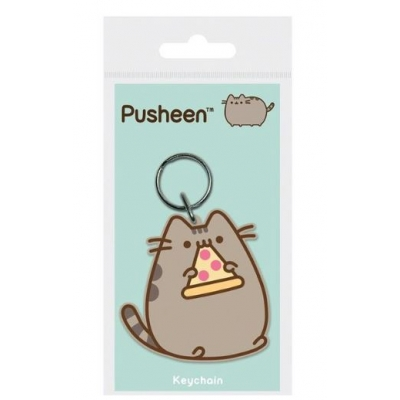 Pusheen Pizza - Rubber Keychain