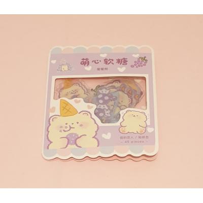 Kawaii Beer/Donut Stickers 45 stuks (paars)