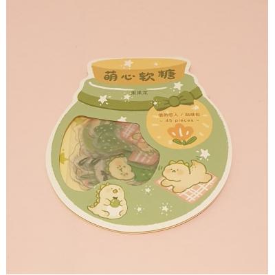 Kawaii Dino/Avocado Stickers 45 stuks (groen)